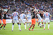 Sheffield Wednesday    appeal for the handball that leads to a penalty during the EFL Sky Bet Championship match between Huddersfield Town and Sheffield Wednesday at the John Smiths Stadium, Huddersfield, England on 16 October 2016. Photo by Simon Davies.