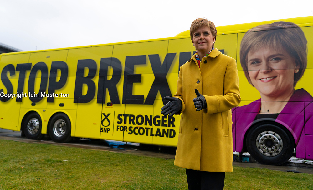 South Queensferry, Scotland, UK. 5th December 2019. SNP leader Nicola Sturgeon marked the final week of the SNP's election campaign by kicking off a tour of Scotland on the SNP campaign bus. The First Minister warned that there are just seven days left to stop Brexit, and to put Scotland's future in Scotland's hands - not Boris Johnson's. Iain Masterton/Alamy Live News
