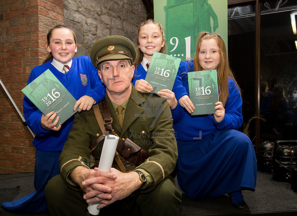 08/12/2015                <br /> Limerick City &amp; County Council launches Ireland 2016 Centenary Programme<br /> <br /> An extensive programme of events across the seven programme strands of the Ireland 2016 Centenary Programme was launched at the Granary Library, Michael Street, Limerick, last night (Monday, 7 December 2015) by Cllr. Liam Galvin, Mayor of the City and County of Limerick.<br /> <br /> Led by Limerick City &amp; County Council and under the guidance of the local 1916 Co-ordinator, the programme is the outcome of consultations with interested local groups, organisations and individuals who were invited to participate in the planning and implementation of events and initiatives during 2016.  <br /> <br /> Pictured at the event were, Laura McNamara, Rebecca Murphy and Kaitlin McNamara with actor Mike Finn. Picture: Alan Place