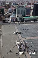 Mongolia. Ulaanbaatar. Elevated view of the center of Ulaanbaaatar,
