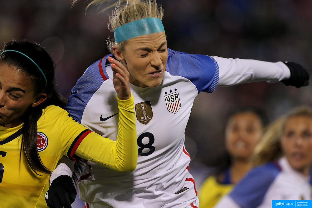 Julie Johnston, USA, in action during the USA Vs Colombia, Women's International friendly football match at the Pratt & Whitney Stadium, East Hartford, Connecticut, USA. 6th April 2016. Photo Tim Clayton