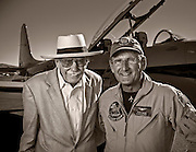 Pace-plane pilots Bob Hoover and Steve Hinton.  Created on the ramp during the 2012 Reno Air Races, Reno-Stead Airfield, Reno, Nevada.  Created by aviation photographer John Slemp of Aerographs Aviation Photography. Clients include Goodyear Aviation Tires, Phillips 66 Aviation Fuels, Smithsonian Air & Space magazine, and The Lindbergh Foundation.  Specialising in high end commercial aviation photography and the supply of aviation stock photography for commercial and marketing use.
