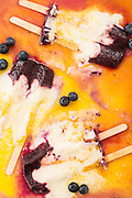 Melting gourmet orange dreamsicles with blueberries
