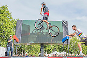 The bar to bar leap new world record 262 cm (was 252) - Stunt cyclist Andrei Burton attempts to set two world records in the Green Park Festival Zone. Burton tries and just fails to break the record for the number of people he can jump over in two minutes (the current record is 96 and he achieves 87) and succeeds in the record for the furthest jump between two points. Double Olympic gold medallist Laura Trott watches.  Prudential RideLondon a festival of cycling, with more than 95,000 cyclists, including some of the world's top professionals, participating in five separate events over the weekend of 1-2 August.