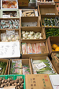 Organic vegetables for sale, Tsukiji fish market, Tokyo, Japan