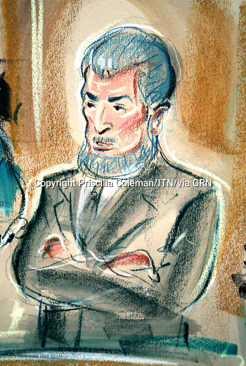 ©PRISCILLA COLEMAN ITN.SUPPLIED BY PHOTONEWS SERVICE LTD .PIC SHOWS:ARTIST IMPRESSION OF JUDGE KHAN GIVING EVIDENCE AT THE OLD BAILEY. DRIZA WAS FOUND GUILTY TODAY 27.09.06 OF 1 COUNT OF BLACKMAIL AND 1 COUNT OF THEFT.