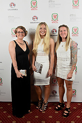 CARDIFF, WALES - Monday, October 5, 2015: Wales' Rachel Rowe, Charlie Estcourt and Laura May-Walkley during the FAW Awards Dinner at Cardiff City Hall. (Pic by Pete Thomas/Propaganda)