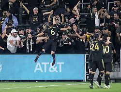 November 1, 2018 - Los Angeles, California, U.S - Danilo Silva #6 of the LAFC celebrates with fans after scoring a goal during their MLS playoff game with the Real Salt Lake on Thursday November 1, 2018 at Banc of California Stadium in Los Angeles, California. LAFC vs Real Salt Lake. (Credit Image: © Prensa Internacional via ZUMA Wire)