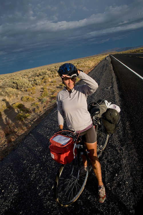 Alexis Erkert rides through Oregon's high desert, Highway 20, Deschutes County, Oregon. 9/22/2007 .Photo by Ben Depp