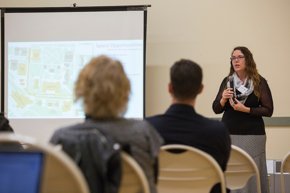 Shawna Bolin, one of the co-chairs of the Park Place Strategy Work Group, leads a presentation at the beginning of the public planning workshop at the Athens Community Center on Feb. 22, 2017.