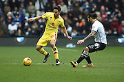 MK Dons defender George Baldock during the Sky Bet Championship match between Derby County and Milton Keynes Dons at the iPro Stadium, Derby, England on 13 February 2016. Photo by Jon Hobley.