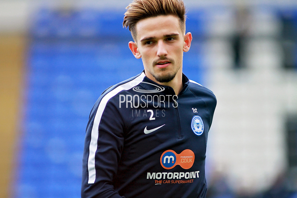 Peterborough United defender Liam Shephard (2) warming up before the EFL Sky Bet League 1 match between Peterborough United and Shrewsbury Town at London Road, Peterborough, England on 28 October 2017. Photo by Nigel Cole.
