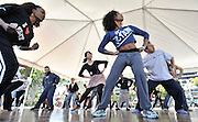 Teaching dance to the public on the Music Center Plaza during an event called, A Taste of Dance. Special guest instructors included Alvin Ailey American Dance Theater company members Guillermo Asca and Renee Robinson; rehearsal director and guest artist Matthew Rushing; Ailey Arts in Education Co-Director Nasha Thomas-Schmitt and former Ailey dancers Ronni Favors and Andre Tyson. Los Angeles, CA 4-9-2011. Photo courtesy Los Angeles Music Center..