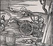 Ballistics.  Gunners calculating the elevation of a piece of artillery using a clinometer and a quadrant marked with shadow scales. From 'Architecture .. Mathematician .. Kunst'  by Gaultherius Rivius (Nuremberg, 1547). Woodcut.