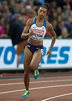 Athletics - 2017 IAAF London World Athletics Championships - Day Five, Evening Session<br /> <br /> 200m Women Round 1<br /> <br /> Shannon Hylton (Great Britain) takes the bend <br /> <br /> at the London Stadium<br /> <br /> COLORSPORT/DANIEL BEARHAM