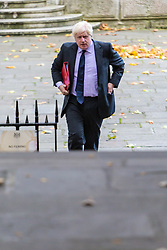 London, October 17 2017. Foreign and Commonwealth Secretary Boris Johnson attends the UK cabinet meeting at Downing Street. © Paul Davey