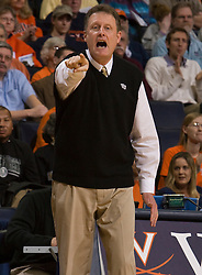 Wake Forest head coach Mike Petersen during the UVA game.  The #15 ranked Virginia Cavaliers defeated the Wake Forest Demon Deacons 77-59 in NCAA Women's Basketball at the John Paul Jones Arena on the Grounds of the University of Virginia in Charlottesville, VA on January 11, 2009.
