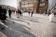Enkele tientallen studenten demonstreren op de Neude in Utrecht tegen de bezuinigingen op het hogere onderwijs. Eerder op de dag hebben ze een gebouw van de faculteit Geesteswetenschappen van de Universiteit Utrecht bezet in de binnenstad van Utrecht.<br /> <br /> A couple of students are protesting at the Neude in Utrecht. Earlier this day students have occupied a building of the Utrecht University to protest against the cuts in the higher education.