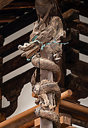 Dragon carving on the Kondo building, which was rebuilt in 1954 after a 1949 fire destroyed 80-85% of its wood. Horyuji Temple was founded in 607 by Prince Shotoku, an early promoter of Buddhism in Japan. Horyuji Temple was founded in 607 by Prince Shotoku, an early promoter of Buddhism in Japan. Horyuji is one of the country's oldest temples and contains the world's oldest surviving wooden structures. It was designated a UNESCO World Heritage Site in 1993. Horyu-ji is in Nara Prefecture, Japan.