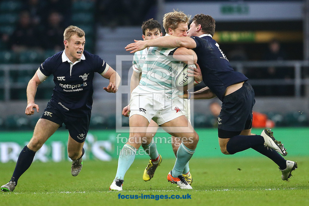 Tom Stileman of Oxford University  and Charlie Amesbury of Cambridge University contest for the ball during The Varsity Match at Twickenham Stadium, Twickenham<br /> Picture by Mark Chappell/Focus Images Ltd +44 77927 63340<br /> 08/12/2016