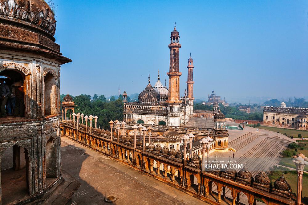 View from Bara Imambara of the Asfi Mosque in the Imambara complex in Lucknow, Uttar Pradesh, India. Imambara is a shrine built by Shia Muslims for the purpose of Azadari.