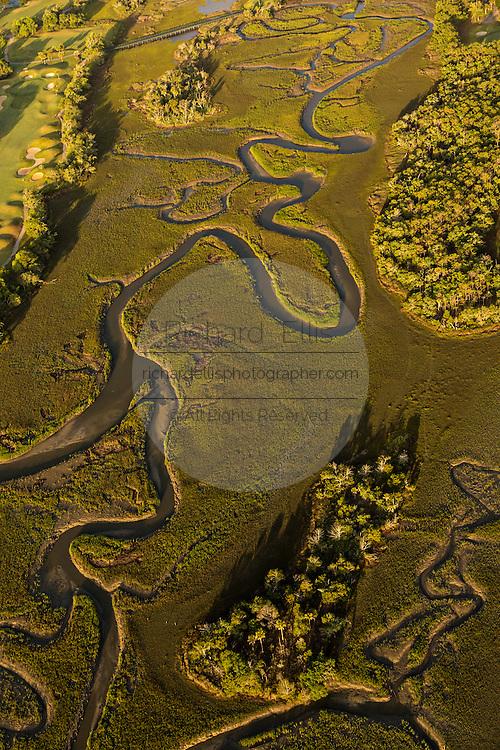 Aerial view of marsh Mount Pleasant, SC.