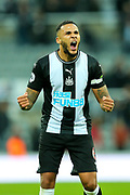 Jamaal Lascelles (#6) of Newcastle United celebrates after Newcastle United defeat Manchester United 1-0 in the Premier League match between Newcastle United and Manchester United at St. James's Park, Newcastle, England on 6 October 2019.