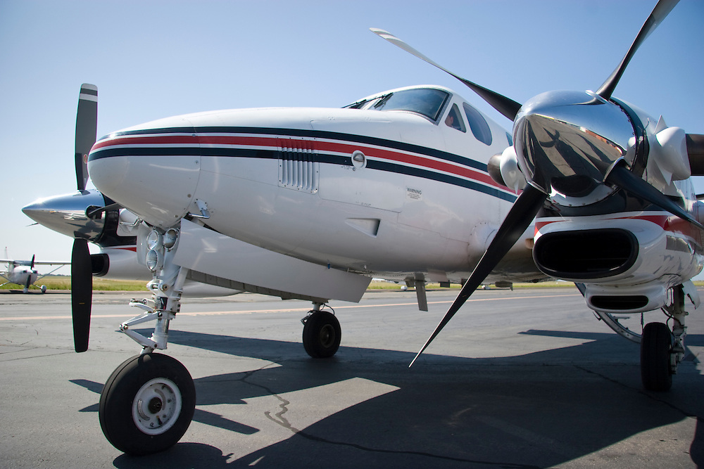 Low front angle close-up of a Beech King Air