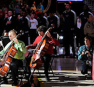 The Avon High School Chamber Orchestra performs the national anthem before an NBA game between the Atlanta Hawks and the Cleveland Cavaliers on January 9, 2013 at Quicken Loans Arena in Cleveland. Images © David Richard and may not be copied, posted, published or printed without permission.