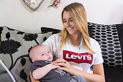 Aimee Byron, 18, from Fareham in Hampshire  almost lost her baby Jamie after he was unable to keep food down due to a digestive complication that required delicate surgery. Jamie is now thriving. Fareham, Hampshire, May 01 2019.
