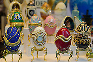 NYC, New York, U.S.  21st May 2013. Window shoppers can see expensive items such as these ornate faberge eggs in jewelry and art store windows in Manhattan, during a pleasant spring day, with a high of 86ºF/32ºC.