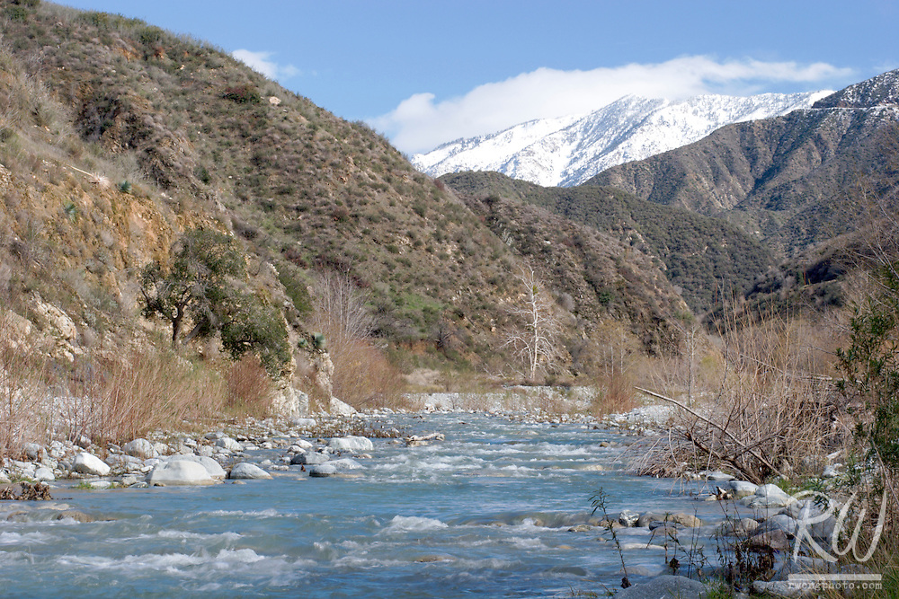 East Fork of the San Gabriel River and Mount Baldy in Winter, Angeles National Forest, California