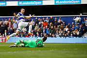 Queens Park Rangers forward Conor Washington (9) scores a goal (score 1-0) during the EFL Sky Bet Championship match between Queens Park Rangers and Nottingham Forest at the Loftus Road Stadium, London, England on 29 April 2017. Photo by Andy Walter.