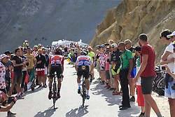 Zdenek Stybar (CZE) Quick-Step Floors and Thomas De Gendt (BEL) Lotto-Soudal climb Col d'Izoard during Stage 18 of the 104th edition of the Tour de France 2017, running 179.5km from Briancon to the summit of Col d'Izoard, France. 20th July 2017.<br /> Picture: Eoin Clarke | Cyclefile<br /> <br /> All photos usage must carry mandatory copyright credit (© Cyclefile | Eoin Clarke)