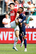 23-08-2015 VOETBAL:AZ-WILLEM II:ALKMAAR <br /> Eredivisie 2015-2016 <br /> <br /> Thom Haye van AZ in duel Funso Ojo van Willem II <br /> <br /> Foto: Geert van Erven