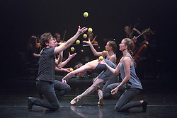 © Licensed to London News Pictures. 13/01/2015. London, England. L-R: Sakari Männistö, Erin O'Toole and Kati Ylä-Hokkala. Dress rehearsal of Gandini Juggling's new show 4 x 4 Ephemeral Architectures. Four classical dancers, choreographed by former Royal Ballet First Artist Ludovic Ondiviela, join four of Gandini's jugglers. World premiere at Linbury Studio Theatre, Royal Opera House, 13 to 15 January 2015. The show is part of the London International Mime Festival and is followed by a UK tour. Dancers: Kieran Stoneley, Kate Byrne, Erion O'Toole and Joe Bishop, jugglers: Kim Huynh, Sakari Männistö, Owen Reynolds and Kati Ylä-Hokkala. Photo credit: Bettina Strenske/LNP