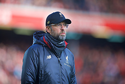 LIVERPOOL, ENGLAND - Saturday, February 9, 2019: Liverpool's manager Jürgen Klopp during the pre-match warm-up before the FA Premier League match between Liverpool FC and AFC Bournemouth at Anfield. (Pic by David Rawcliffe/Propaganda)