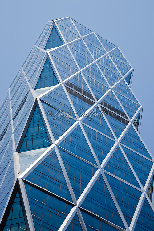 "Hearst Tower located at 300 57th Steet, New York City, NY USA. World headquarters of the Hearst Corporation. Tower architect: Norman Foster. The 46 story tower was completed in 2006.  The first ""green"" high rise office building in New York City earning a gold LEED certification."