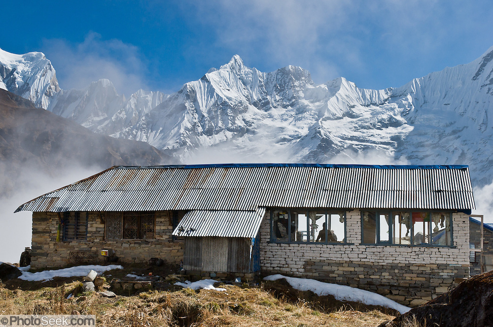 Annapurna South Base Camp (ABC, at 13,550 feet elevation) in the Annapurna Range of Nepal.