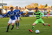 Forest Green Rovers Elliott Frear(11) crosses the ball during the Vanarama National League match between Macclesfield Town and Forest Green Rovers at Moss Rose, Macclesfield, United Kingdom on 12 November 2016. Photo by Shane Healey.