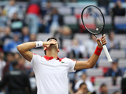 SHANGHAI, Oct. 12, 2018  Serbia's Novak Djokovic celebrates after winning the men's singles quarterfinal match against Kevin Anderson of South Africa at the Shanghai Masters tennis tournament on Oct. 12, 2018. Novak Djokovic won 2-0. (Credit Image: © Ding Ting/Xinhua via ZUMA Wire)