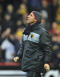 Watford Manger, Gianfranco Zola looks to the skies after referee Michael Naylor calls the game off - Photo mandatory by-line: Joe Meredith/JMP  - Tel: Mobile:07966 386802 26/12/2012 - Bristol City v Watford - SPORT - FOOTBALL - Championship -  Bristol  - Ashton Gate Stadium -