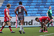 Greg Johnson for Salford Reds touches down  during the Betfred Super League match between Salford Red Devils and Catalan Dragons at the AJ Bell Stadium, Eccles, United Kingdom on 30 March 2018. Picture by George Franks.