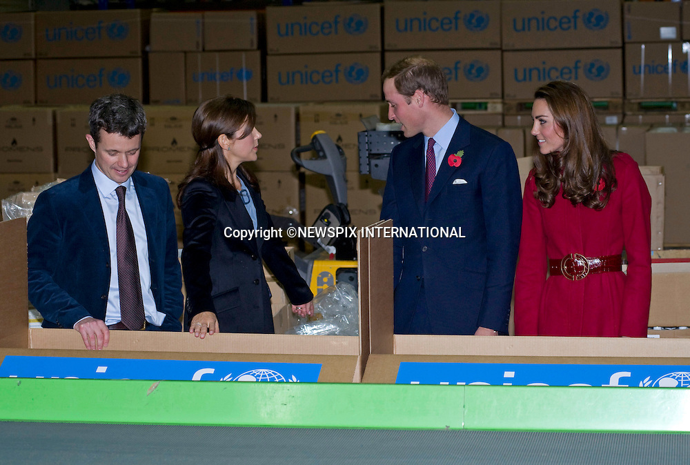 """PRINCE WILLIAM & CATHERINE ,CROWN PRINCE FREDERIK AND CROWN PRINCESS MARY.visit the UNICEF emergency supply centre in Copenhagen, to view efforts to distribute emergency food and medical supplies to the drought striken area of East Africa that affects over 13 million people_02/11/2011.Mandatory Credit Photo: ©Dias/NEWSPIX INTERNATIONAL..**ALL FEES PAYABLE TO: """"NEWSPIX INTERNATIONAL""""**..IMMEDIATE CONFIRMATION OF USAGE REQUIRED:.Newspix International, 31 Chinnery Hill, Bishop's Stortford, ENGLAND CM23 3PS.Tel:+441279 324672  ; Fax: +441279656877.Mobile:  07775681153.e-mail: info@newspixinternational.co.uk"""