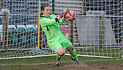 Sam Saint pulls off a fine save in the penalty shootout during the Women's FA Cup match between Charlton Athletic WFC and Crystal Palace LFC at Sporting Club Thamesmead, Thamesmead, United Kingdom on 8 March 2015. Photo by Michael Hulf.