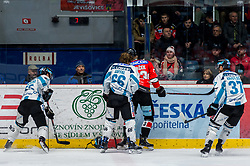 24.02.2019, Ice Rink, Znojmo, CZE, EBEL, HC Orli Znojmo vs EHC Liwest Black Wings Linz, Qualifikationsrunde, 49. Runde, im Bild v.l. Kevin Kapstad (EHC Liwest Black Wings Linz) Stefan Gaffal (EHC Liwest Black Wings Linz) Marek Spacek (HC Orli Znojmo) Andreas Kristler (EHC Liwest Black Wings Linz) // during the Erste Bank Eishockey League 49th round match between HC Orli Znojmo and EHC Liwest Black Wings Linz at the Ice Rink in Znojmo, Czechia on 2019/02/24. EXPA Pictures © 2019, PhotoCredit: EXPA/ Rostislav Pfeffer
