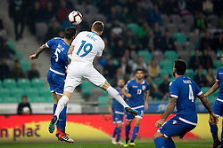 Valentinos Sielis of Cyprus and Robert Beric of Slovenia during football match between National Teams of Slovenia and Cyprus in Final Tournament of UEFA Nations League 2019, on October 16, 2018 in SRC Stozice, Ljubljana, Slovenia. Photo by Urban Urbanc / Sportida