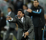 Argentina's national team coach Diego Maradona gestures during the World Cup South Africa 2010 before quarters final football match against Mexico, at Soccer City stadium, in Johannesburgo, South Africa, on June 27, 2010.  (Alejandro Pagni/PHOTOXPHOTO)