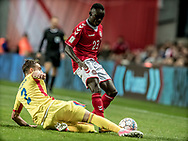 FOOTBALL: Pione Sisto (Denmark) is tackled by Mihai Bălașa (Romania) during the World Cup 2018 UEFA Qualifier Group E match between Denmark and Romania at Parken Stadium on October 8, 2017 in Copenhagen, Denmark. Photo by: Claus Birch / ClausBirch.dk.