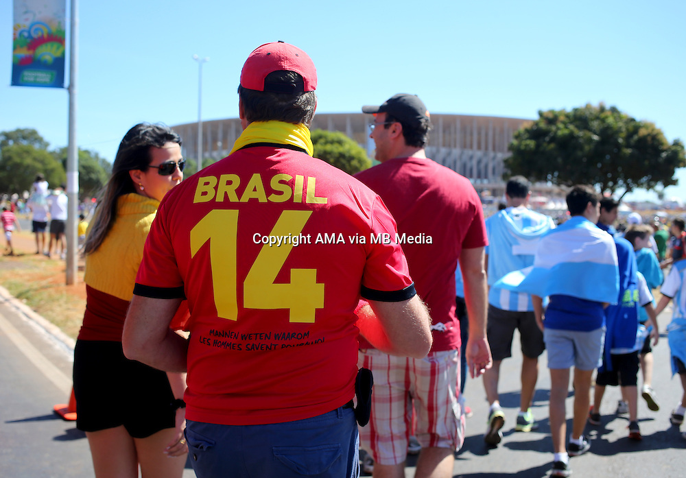 Fans of Belgium and Argentina make their way to the game